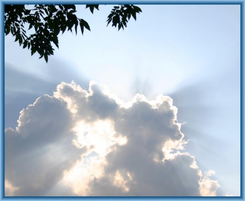 Sun rays in clouds.