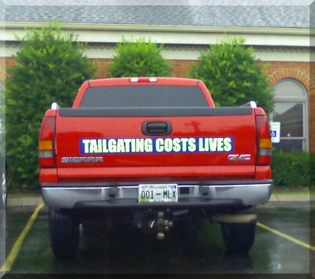 Tailgating Costs Lives by Flickr User Max aka landotter, CC License = Attribution, Noncommercial