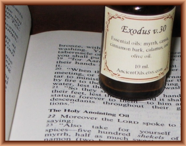 Anointing Oil by Flickr User Ancient Oils, CC License = Attribution, Noncommercial, Share Alike