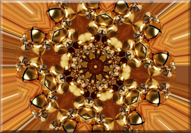 Golden Jingle Bells Kaleidoscope by Crystal A Murray, CC License = Attribution, Noncommercial, Share Alike