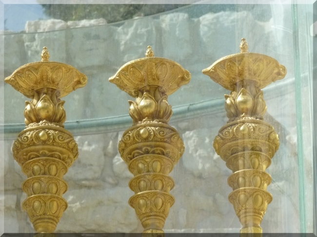Golden Menorah Candlesticks by Flickr User Zeevveez, CC License = Attribution