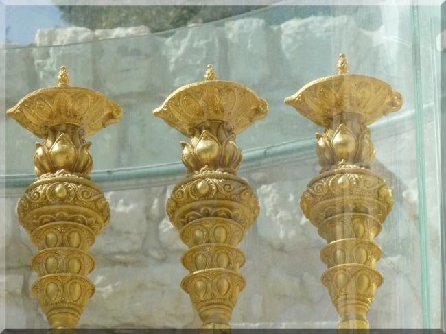 Golden Menorah Candlesticks by Flickr User Zeevveez, CC License = Attribution