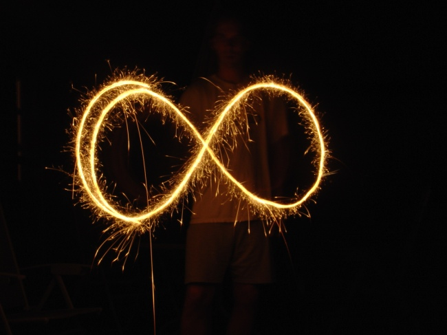 Infinity Fireworks by Flickr User karmakimmie, CC License = Attribution, Noncommercial, Share Alike