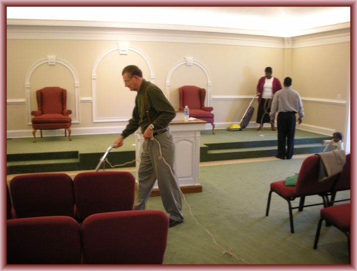Church Cleaning by Flickr User Judy Baxter, CC License = Attribution, Noncommercial, Share Alike