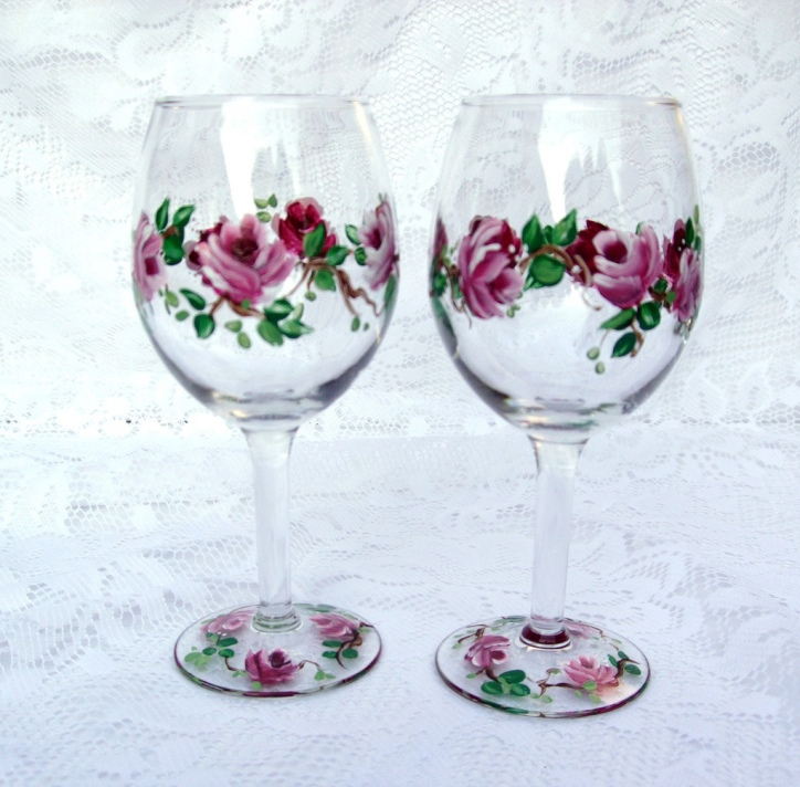 Hand Painted Wine Glasses by Flickr User Southern Lady's Vintage, CC License = Attribution, No Derivative Works