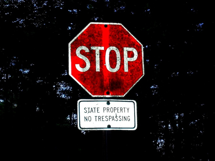 Stop Sign No Trespassing by Flickr User Lee Cannon, CC License = Attribution, Noncommercial