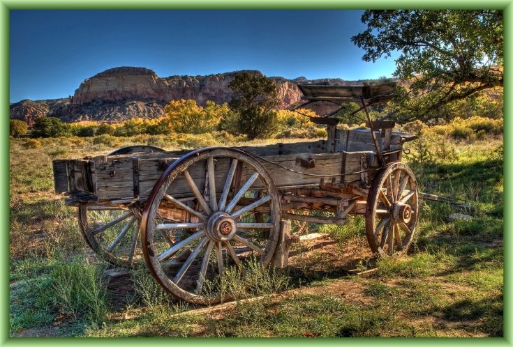 Ghost Ranch Welcome Wagon by Flickr User Angi English, CC License = Attribution, Noncommercial