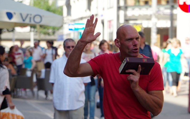 Hamburg Famous Street Preacher by Flickr User Marnie Pix, CC License = Attribution, No Derivative Works