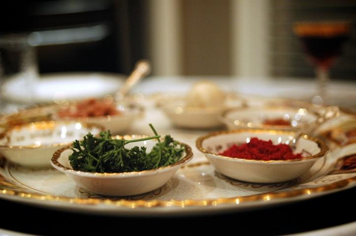 Seder Plate by Flickr User Dara Skolnick, CC License = Attribution, No Derivative Works