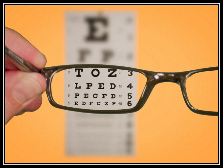 Vision of Eyechart with Glasses by Flickr User Ken Teegardin, CC License = Attribution, Share Alike