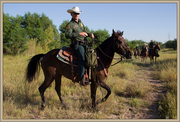Horse Patrol on Texas border by Flickr User U.S. Customs and Border Protection (CBP Photography), CC License = Attribution, Share Alike