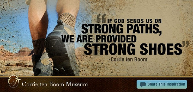 Strong Shoes for Strong Paths by Flickr User Corrie ten Boom Museum, CC License = Attribution, Noncommercial, No Derivative Works
