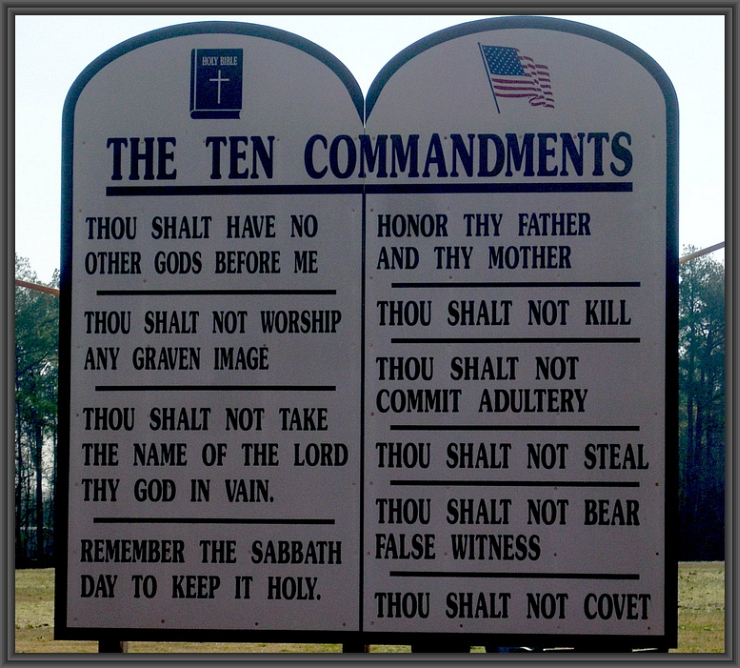 Ten Commandments by Flickr User Gerry Dincher, CC License = Attribution, Share Alike