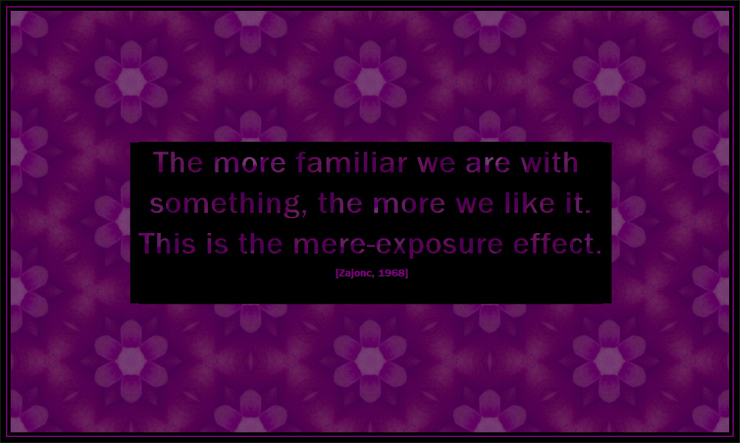 Mere Exposure Effect Quote on Purple Tessellated Background by Crystal