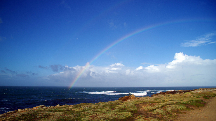 Rainbow Over the Atlantic by Flickr User Nemossos, CC License = Attribution, No Derivative Works