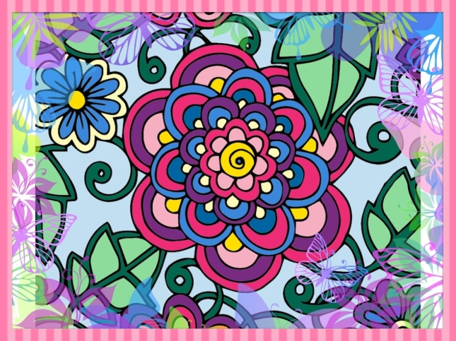 Cool PicsArt Edits on Colorfy Flower--Framed
